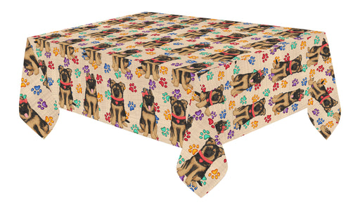 Rainbow Paw Print German Shepherd Dogs Red Cotton Linen Tablecloth