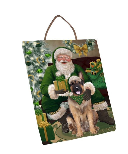Christmas Irish Santa with Gift and German Shepherd Dog Wall Décor Hanging Photo Slate SLTH58337