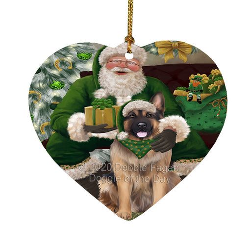 Christmas Irish Santa with Gift and German Shepherd Dog Heart Christmas Ornament RFPOR58269