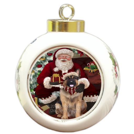 Santa's Christmas Surprise German Shepherd Dog Round Ball Christmas Ornament RBPOR58025