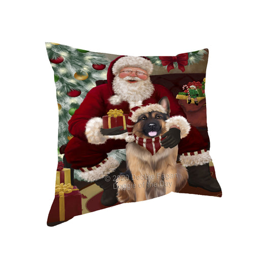 Santa's Christmas Surprise German Shepherd Dog Pillow PIL87184