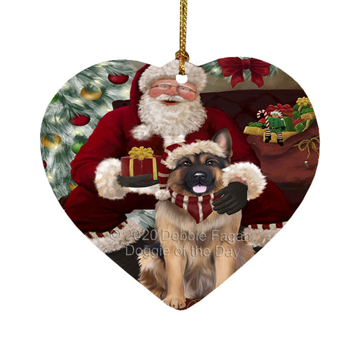 Santa's Christmas Surprise German Shepherd Dog Heart Christmas Ornament RFPOR58367
