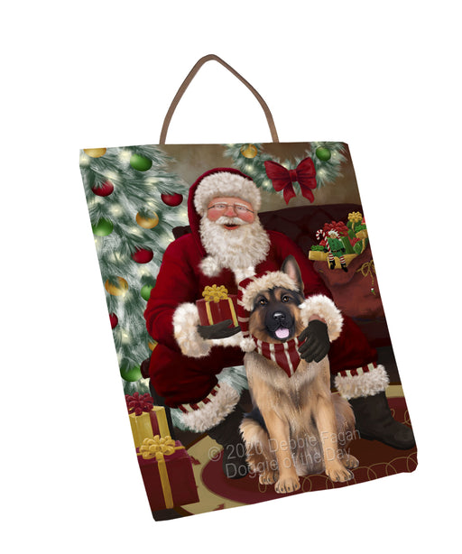 Santa's Christmas Surprise German Shepherd Dog Wall Décor Hanging Photo Slate SLTH58435