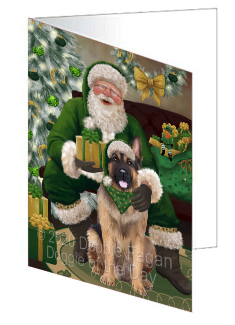 Christmas Irish Santa with Gift and German Shepherd Dog Note Card NCD75851