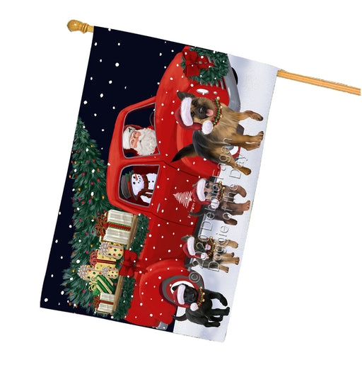 Christmas Express Delivery Red Truck Running German Shepherd Dogs House Flag FLG66523