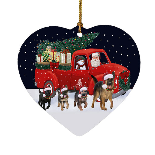 Christmas Express Delivery Red Truck Running German Shepherd Dogs Heart Christmas Ornament RFPOR58093