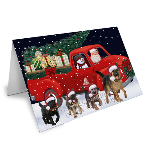 Christmas Express Delivery Red Truck Running German Shepherd Dogs Greeting Card GCD75143