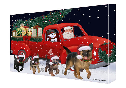 Christmas Express Delivery Red Truck Running German Shepherd Dogs Canvas Print Wall Art Décor CVS146105