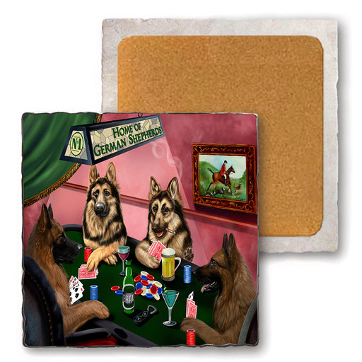 Set of 4 Natural Stone Marble Tile Coasters - Home of German Shepherd 4 Dogs Playing Poker MCST48024