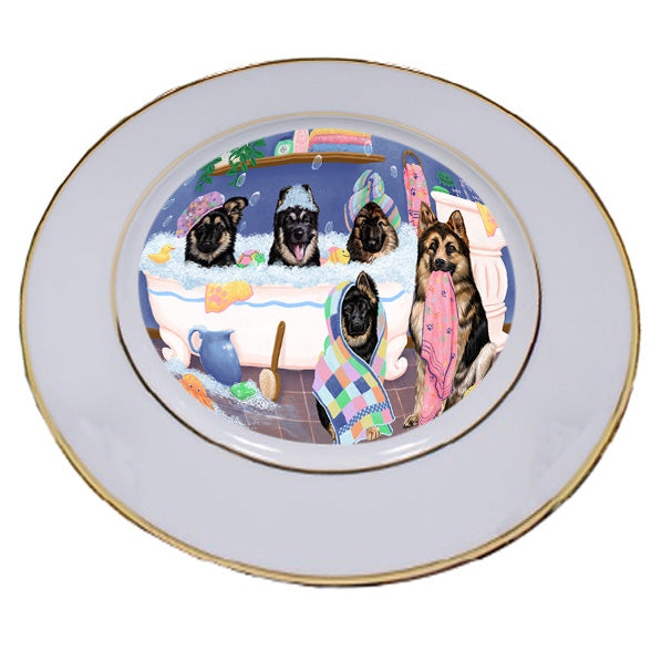 Rub A Dub Dogs In A Tub German Shepherds Dog Porcelain Plate PLT55138