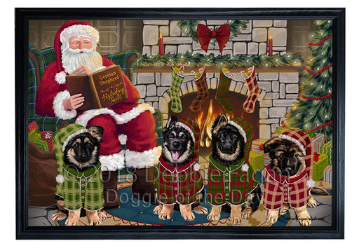 Christmas Cozy Holiday Tails German Shepherds Dog Framed Canvas Print Wall Art FCVS174174