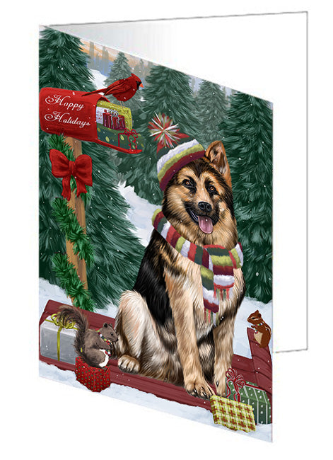 Merry Christmas Woodland Sled German Shepherd Dog Note Card NCD69308