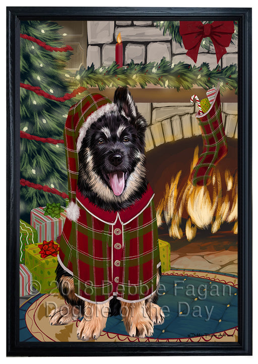 The Stocking was Hung German Shepherd Dog Framed Canvas Print Wall Art FCVS177285