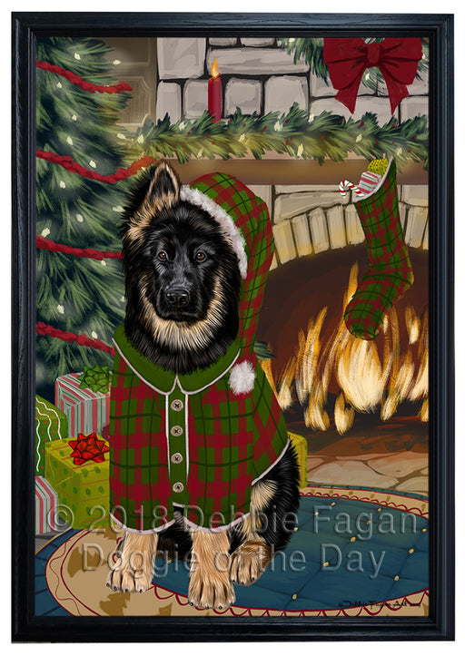 The Stocking was Hung German Shepherd Dog Framed Canvas Print Wall Art FCVS177302