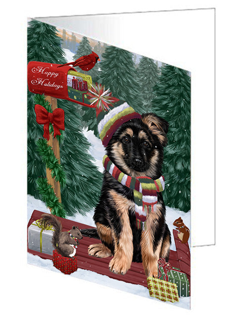 Merry Christmas Woodland Sled German Shepherd Dog Note Card NCD69311