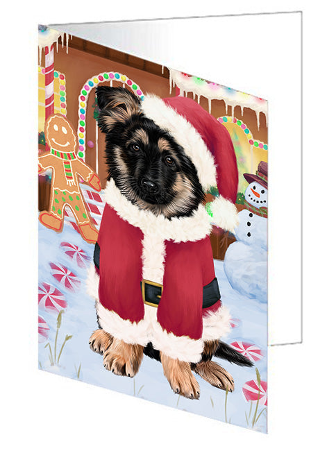 Christmas Gingerbread House Candyfest German Shepherd Dog Note Card NCD73523
