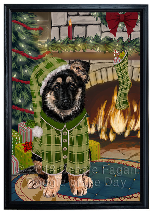 The Stocking was Hung German Shepherd Dog Framed Canvas Print Wall Art FCVS177336