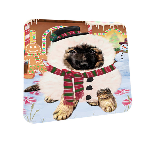 Christmas Gingerbread House Candyfest German Shepherd Dog Coasters Set of 4 CST56295