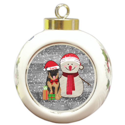 Custom Personalized Snowy Snowman and German Shepherd Dog Christmas Round Ball Ornament