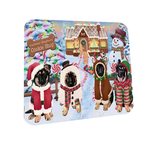 Holiday Gingerbread Cookie Shop German Shepherds Dog Coasters Set of 4 CST56358