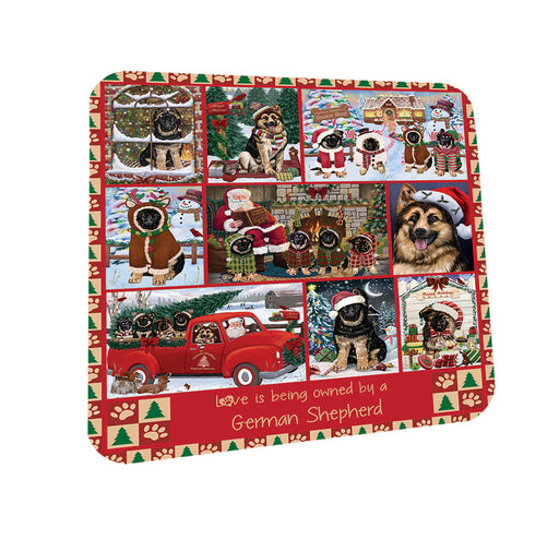 Love is Being Owned Christmas German Shepherd Dogs Coasters Set of 4 CST57183