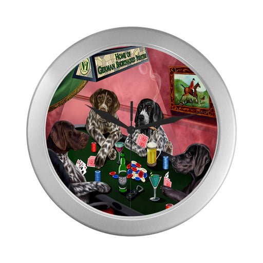 Home of German Shorthaired Pointer Dogs Playing Poker Silver Wall Clocks