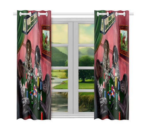 Home of  German Shorthaired Pointer Dogs Playing Poker Window Curtain