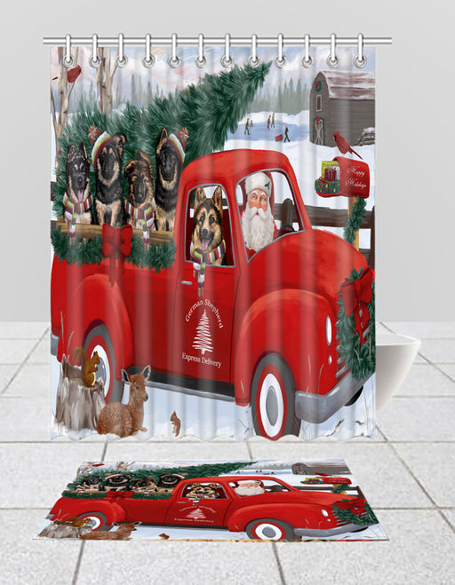 Christmas Santa Express Delivery Red Truck German Shepherd Dogs Bath Mat and Shower Curtain Combo