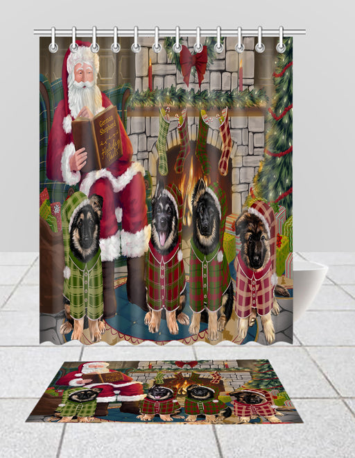Christmas Cozy Holiday Fire Tails German Shepherd Dogs Bath Mat and Shower Curtain Combo