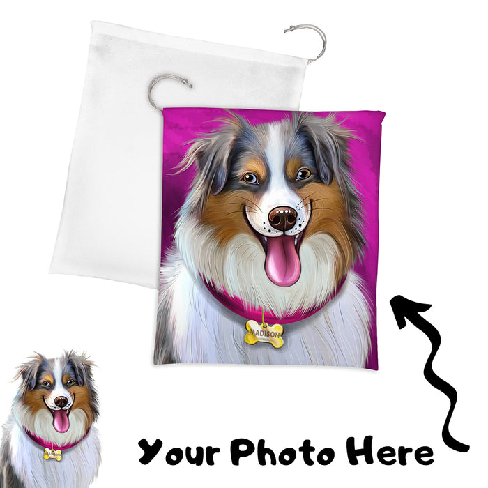 Add Your PERSONALIZED PET Painting Portrait Photo on Drawstring Laundry or Gift Bag