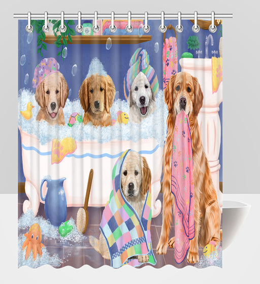Rub A Dub Dogs In A Tub Golden Retriever Dogs Shower Curtain