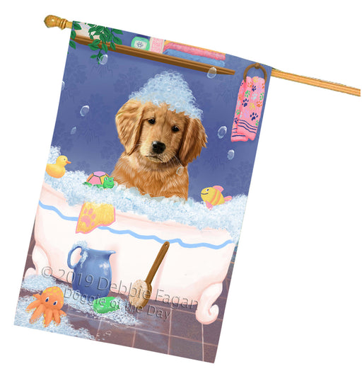 Rub A Dub Dog In A Tub Golden Retriever Dog House Flag FLG66282