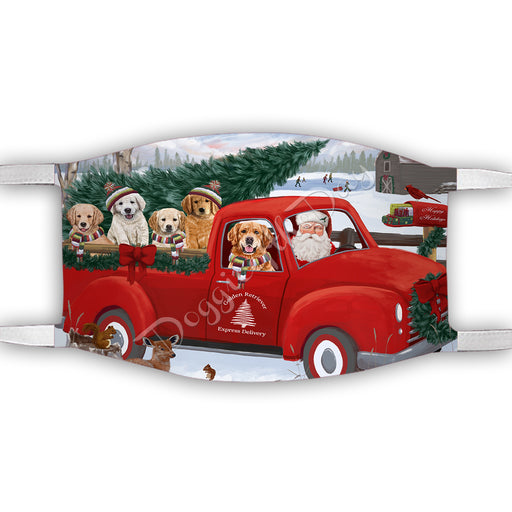 Christmas Santa Express Delivery Red Truck Golden Retriever Dogs Face Mask FM48442
