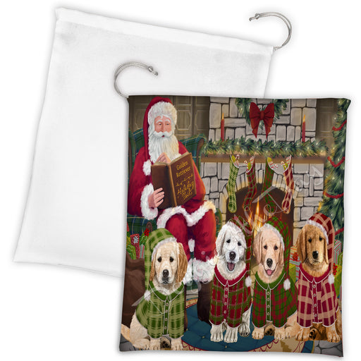 Christmas Cozy Holiday Fire Tails Golden Retriever Dogs Drawstring Laundry or Gift Bag LGB48503