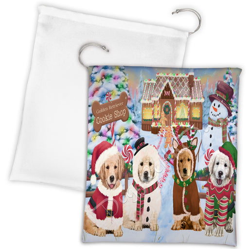 Holiday Gingerbread Cookie Golden Retriever Dogs Shop Drawstring Laundry or Gift Bag LGB48600