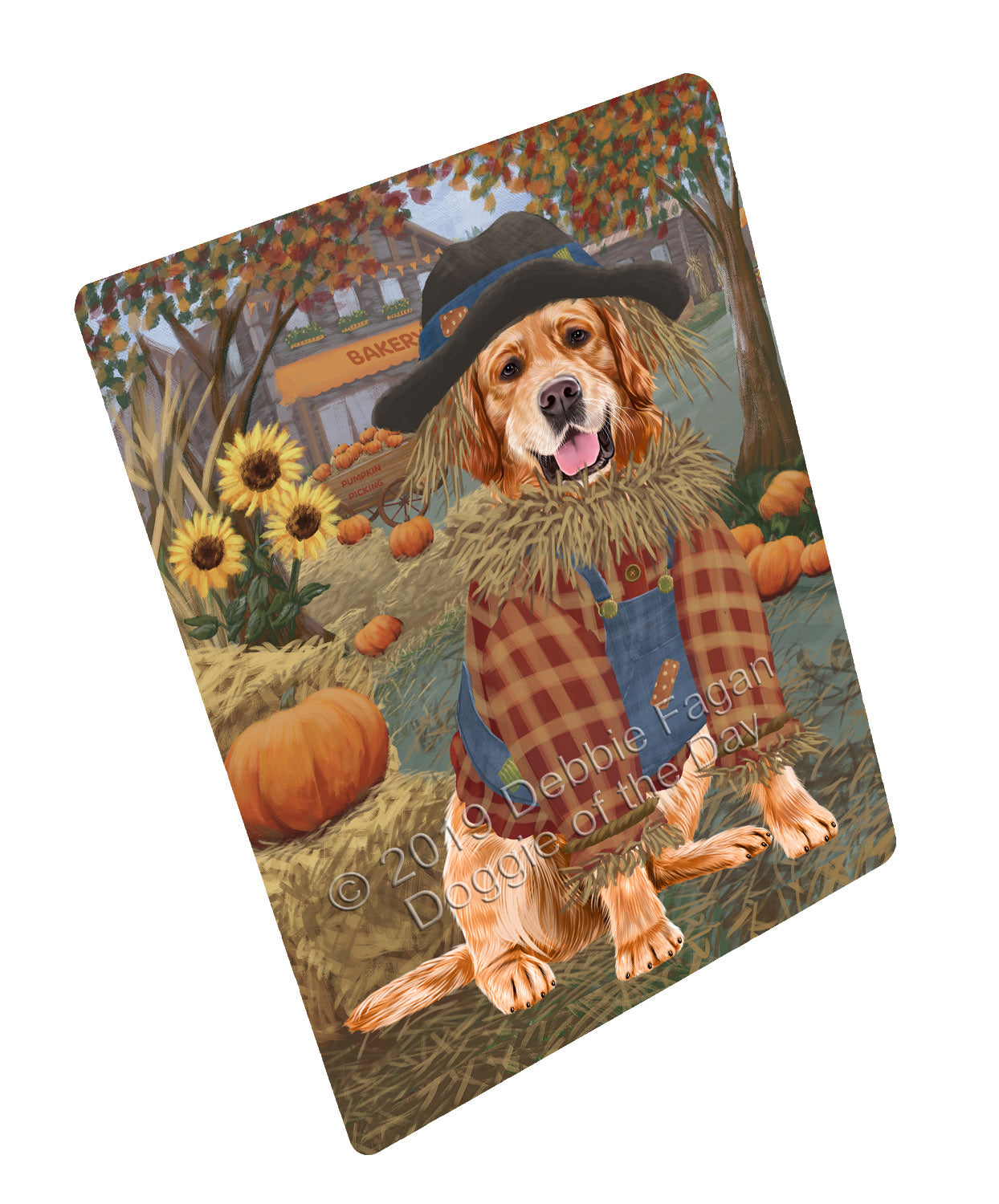 Halloween 'Round Town And Fall Pumpkin Scarecrow Both Golden Retriever Dogs Large Refrigerator / Dishwasher Magnet RMAG104784