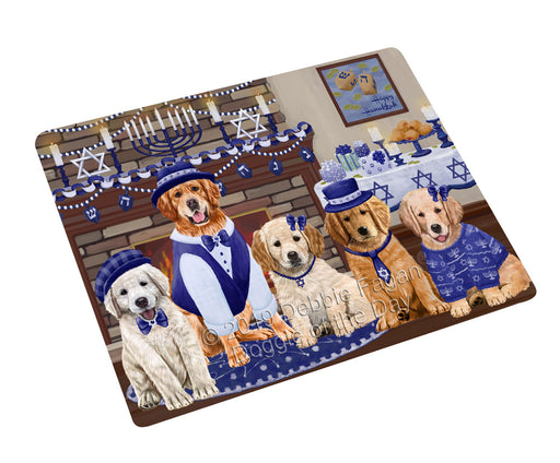 Happy Hanukkah Family and Happy Hanukkah Both Golden Retriever Dogs Large Refrigerator / Dishwasher Magnet RMAG105486