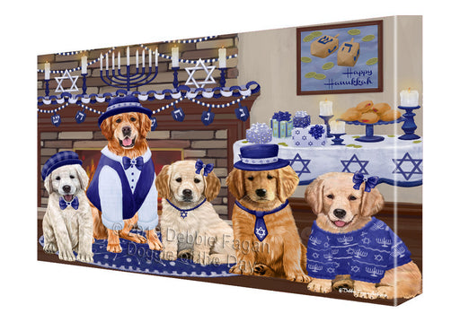 Happy Hanukkah Family and Happy Hanukkah Both Golden Retriever Dogs Canvas Print Wall Art Décor CVS141173