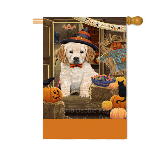 Personalized Enter at Own Risk Trick or Treat Halloween Golden Retriever Dog Custom House Flag FLG-DOTD-A59646