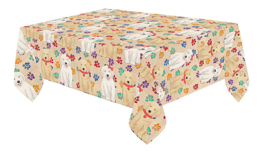 Rainbow Paw Print Golden Retriever Dogs Red Cotton Linen Tablecloth