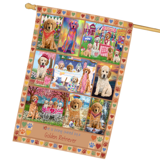 Love is Being Owned Golden Retriever Dog Beige House Flag FLG65486