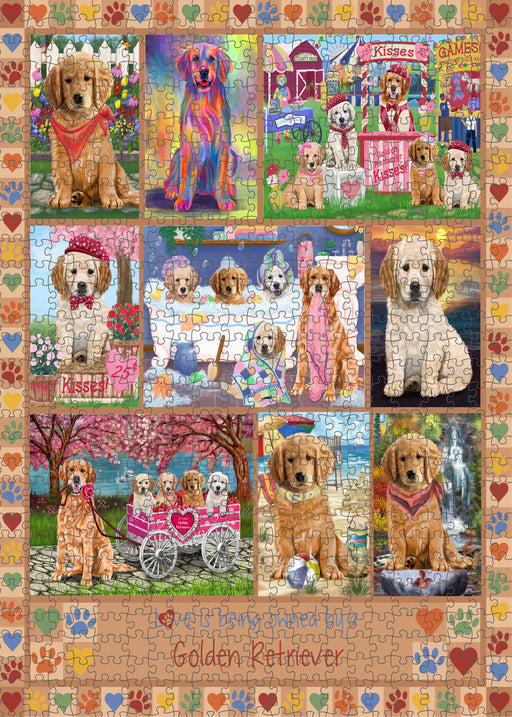 Love is Being Owned Golden Retriever Dog Beige Puzzle with Photo Tin PUZL98444