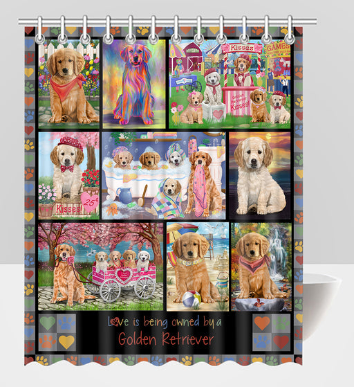 Love is Being Owned Golden Retriever Dog Grey Shower Curtain