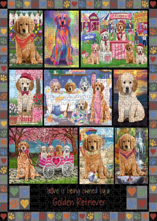 Love is Being Owned Golden Retriever Dog Grey Puzzle with Photo Tin PUZL98448