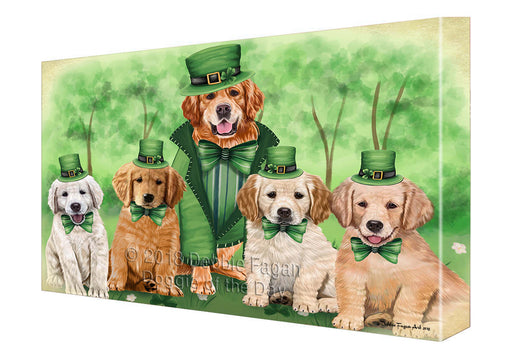 St. Patricks Day Irish Portrait Golden Retrievers Dog Canvas Wall Art CVS54876