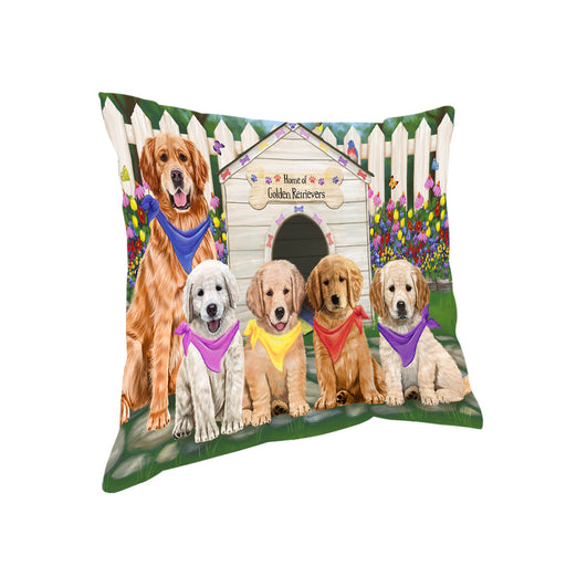 Spring Dog House Golden Retriever Dog Pillow PIL55384