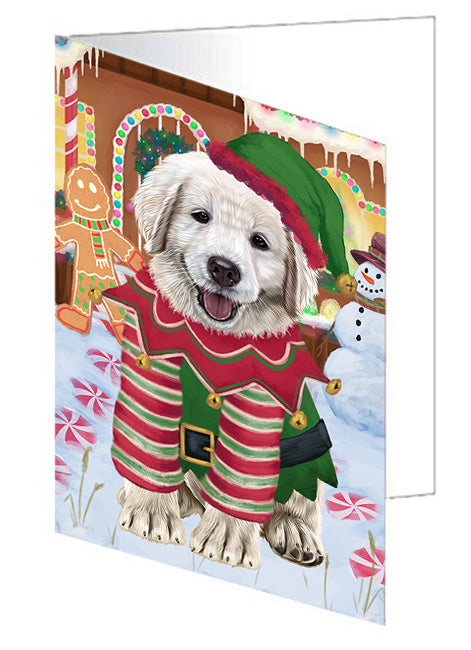 Christmas Gingerbread House Candyfest Golden Retriever Dog Note Card NCD73529