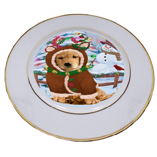 Christmas Gingerbread House Candyfest Golden Retriever Dog Porcelain Plate PLT54688