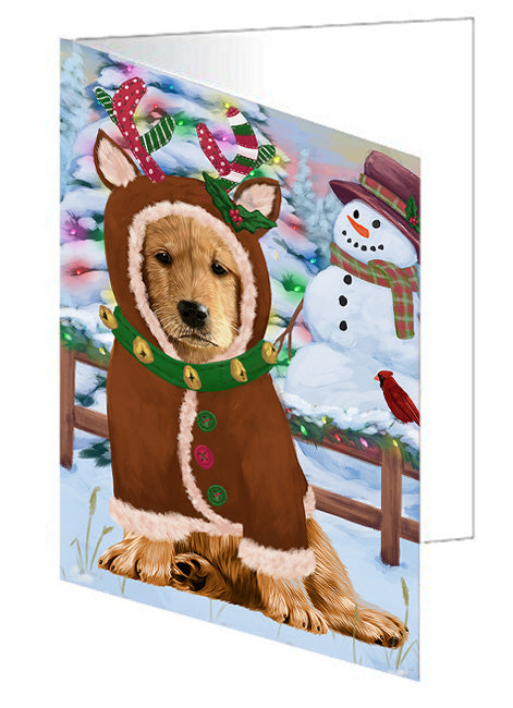 Christmas Gingerbread House Candyfest Golden Retriever Dog Note Card NCD73532
