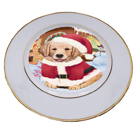Christmas Gingerbread House Candyfest Golden Retriever Dog Porcelain Plate PLT54689
